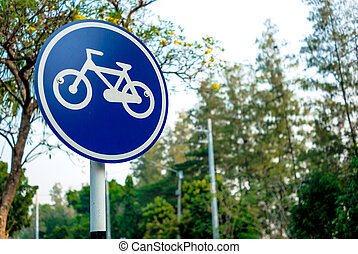 Bicycle sign in the park.