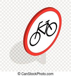 Bicycle sign isometric icon