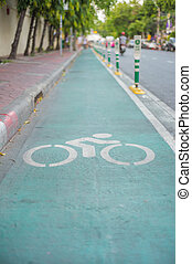Bicycle sign, Lane for bicycle