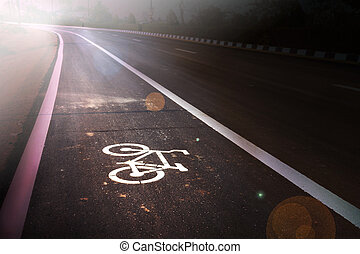 Bicycle sign on bike lane at new paved road