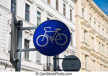 Bicycle sign on street post