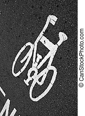 Bicycle sign on the floor