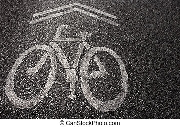 Bicycle Sign on the road.