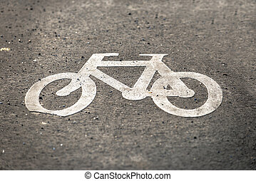 Bicycle sign on the road