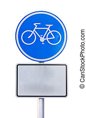 Bicycle sign plate isolated on white.