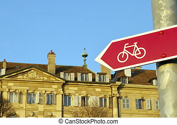 Bicycle signpost in the city