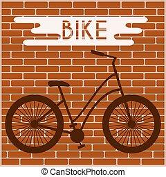 Bicycle silhouette Graffiti on Brick Wall