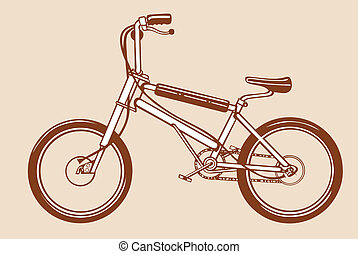 bicycle silhouette on yellow background, vector illustration