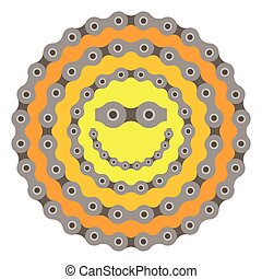 bicycle smile sun chain part vector illustration on white background