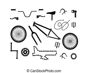 Bicycle spare parts icons set