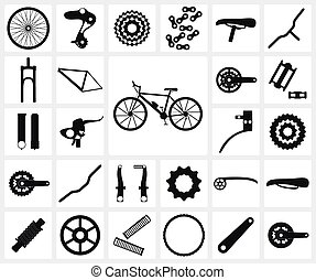 Bicycle spare parts - Set of black silhouette icons of...