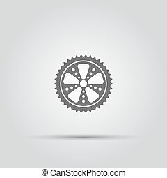 Bicycle sprocket isolated vector icon