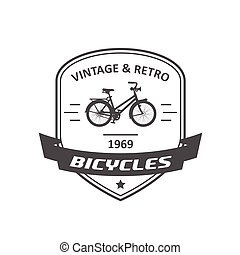 Bicycle store emblem or logo, retro bike badge with banner, vector