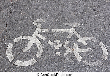 Bicycle symbol on city street