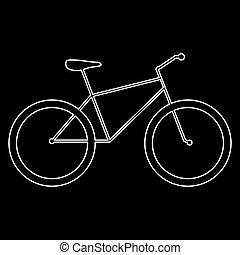 Bicycle  the white path icon .