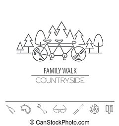 Bicycle thin line design logo template. Vector illustration
