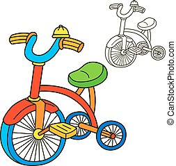 bicycle., tinja livro, page., caricatura, vetorial, illustration.