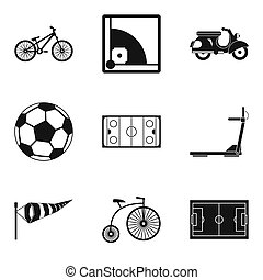 Bicycle tour icons set, simple style