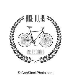 Bicycle tours label. Vintage illustration