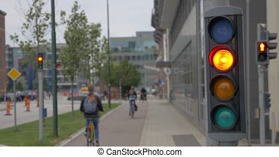 Bicycle traffic lights in the city - Working traffic lights...