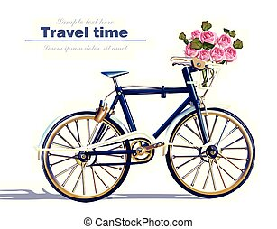 Bicycle travel card Vector realistic. Detailed 3d illustrations