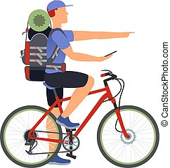 A man traveling by bicycle, exploring the route by GPS Navigator. Vector flat Illustration. Web graphics, banners, advertisements, brochures, business templates. Isolated on a white background