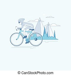 Bicycle Travel Mountain Tourism Banner Thin Line