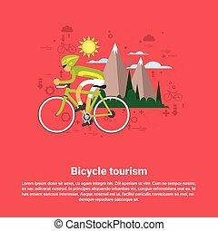Bicycle Travel Mountain Tourism Web Banner