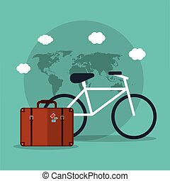bicycle travel suitcase world vacation