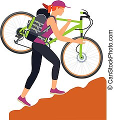 Bicycle travel. Woman climbs uphill - Woman climbs uphill...