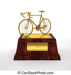 bicycle trophy - 3d image of gold cycle trophy