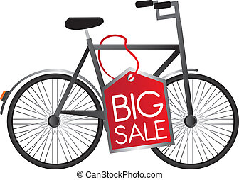 black bicycle with red tag big sale over white background. vector