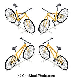 Bicycle Vector isometric illustration. New bicycle isolated on a white background.