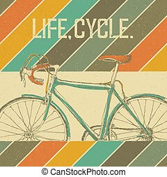 Bicycle Vintage Poster. Retro colors. Vintage, textured vector illustration.