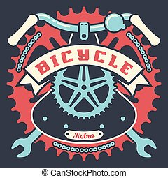 Bicycle vintage poster with parts and ribbon
