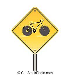 bicycle warning sign, Illustration vector