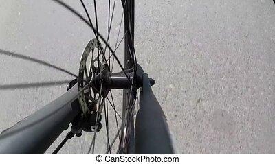 Bicycle wheel and disk brake, camera pointing downward
