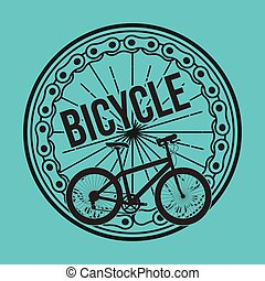 bicycle wheel chain transport blue design
