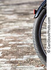 Bicycle Wheel Detail - Detail of black bicycle rear wheel...