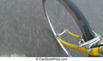Bicycle wheel. - View of front wheel of an old yellow Bianci...