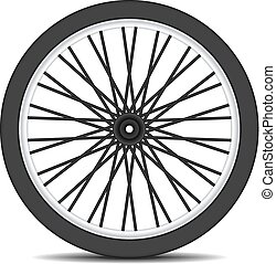 Bicycle wheel in black design with shadow