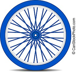 Bicycle wheel in blue design with shadow