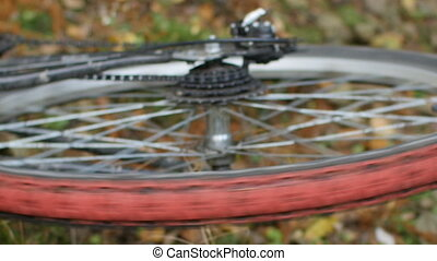 bicycle wheel rotates close-up