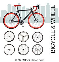Bicycle wheel Set vector illustration