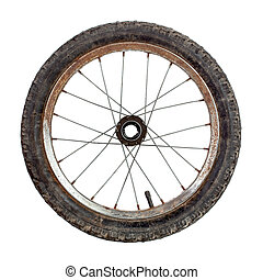 Bicycle wheel - Small old rusty bicycle wheel isolated on...