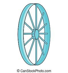 Bicycle wheel symbol icon, cartoon style