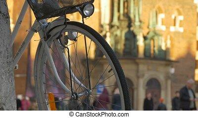 Bicycle Wheel with Lantern - Close-up shot of bicycle wheel...