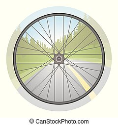 bicycle wheel with scenery and road in background