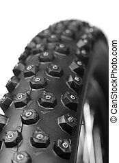 Bicycle wheel with winter tyre - Knobby mountain bike winter...