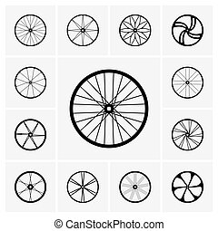 Bicycle wheels - Set of Bicycle wheel icons